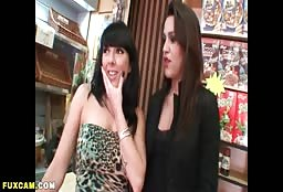 Naughty Lesbian Duo Let A Big Man Join In On The Fun