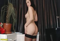 Irresistible Busty Doll Strips Her Dress To Masturbate
