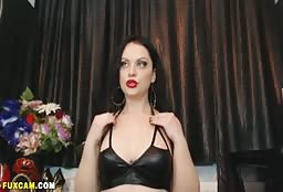 Hot Russian Escort Girl Looks Amazing In Her Leather Bra
