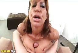 Horny Aunt Gets Her Tits Fucked And Her Face Cummed