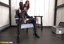 Crazy Redhead Playing Around With Her Encaed Man