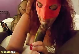 Sexy Phantom Of The Night Sucking Hard On A Black Cock