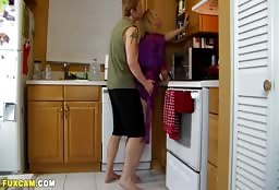 Mature Step Mom Having Some Sizzling Hot Sex In The Kitchen