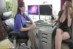 American Escort Babe Having Some Lesbian Fun In The Office